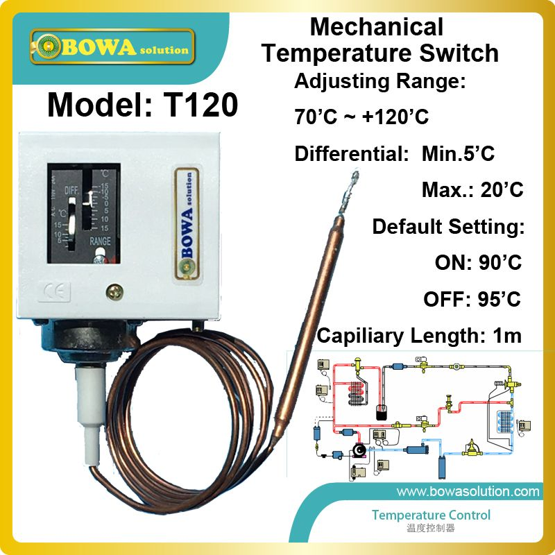 Reliable And Quality Mechanical Adjustable Temperature 70 120 C Switches For Heat Pump Vrv Air Condi Temperature Control Water Chillers Heat Pump Water Heater