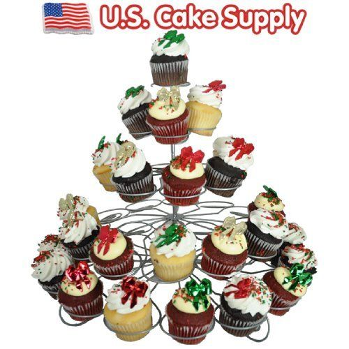 US Cake Supply® Brand 41 Count Metal Cupcake Dessert Stand with 5 - wilton halloween cupcake decorations