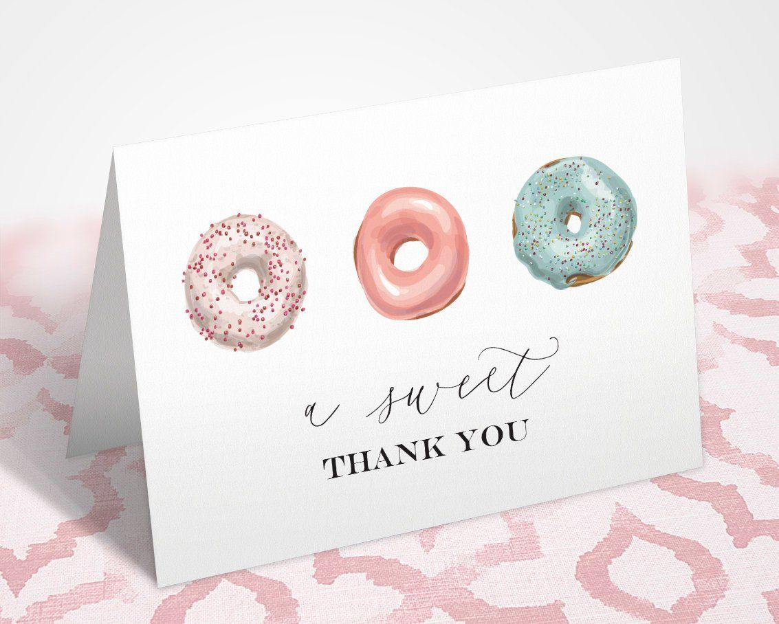 Editable Invitation Template and Printable Thank You Donut Birthday Invitation and Thank You Note Card Instant Download Donut Theme