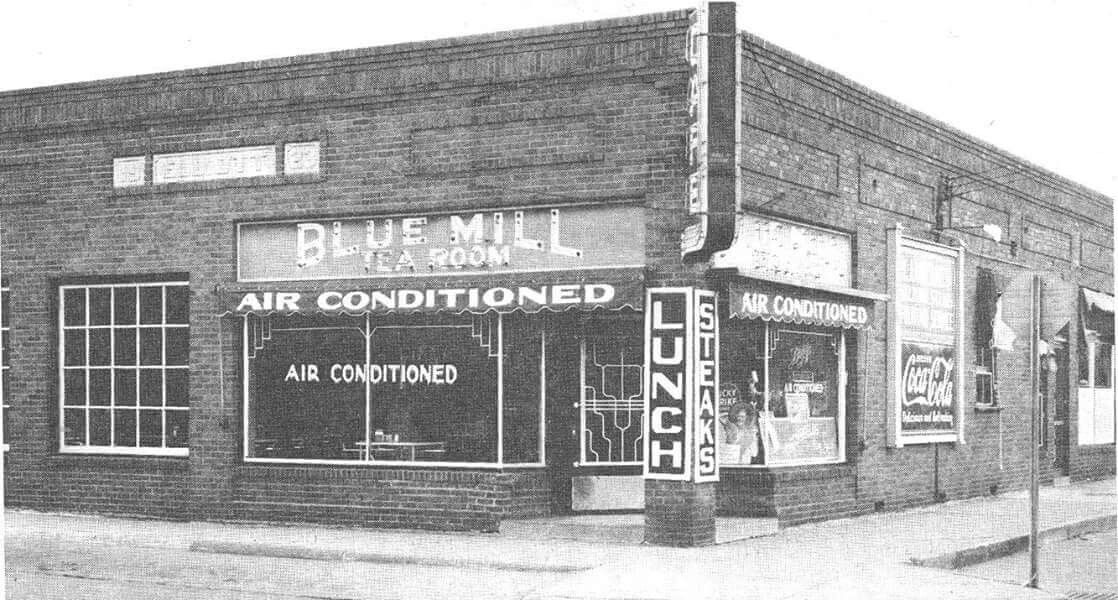 The Blue Mill Restaurant, southeast corner of Wood and