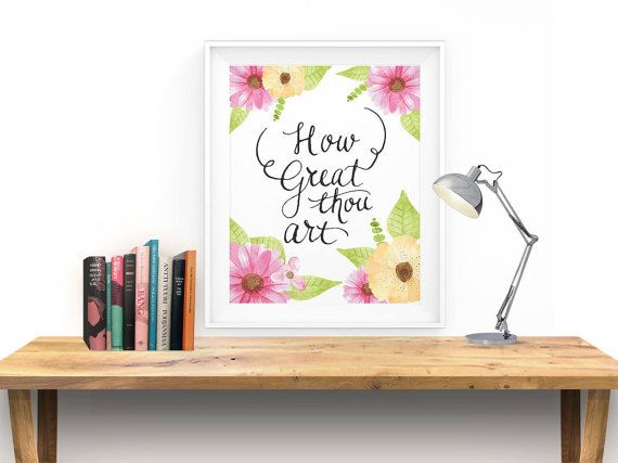 How Great Thou Art Hymn Wall Art Print Christian By Artyoulove