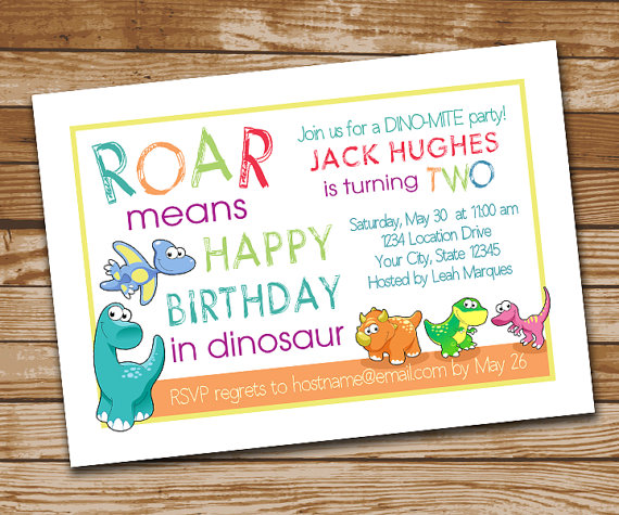 Dinosaur Birthday Invitation Dino Invite Dino Invitation