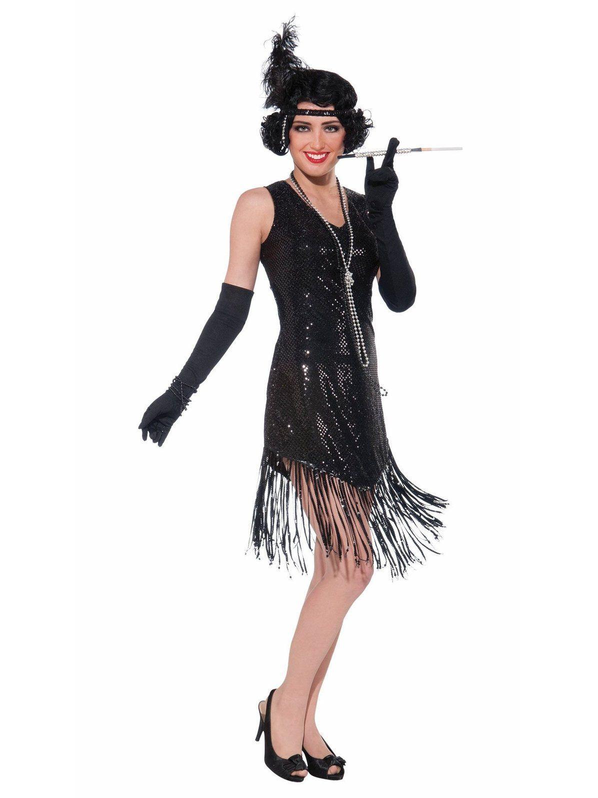 Womens Adult MULTI COLOR SEQUIN FLAPPER 1920s Costume Dress
