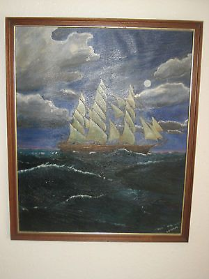 Vintage Original Oil Painting Picture On Canvas 'Ship' Signed, By I. Wilkinson