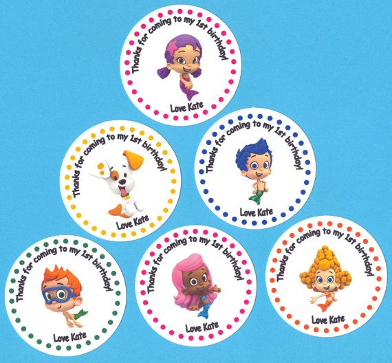 Bubble Guppy Guppies Birthday Party Personalized Stickers Set of 20 Great for goodie favor treat bags invitations and thank you notes