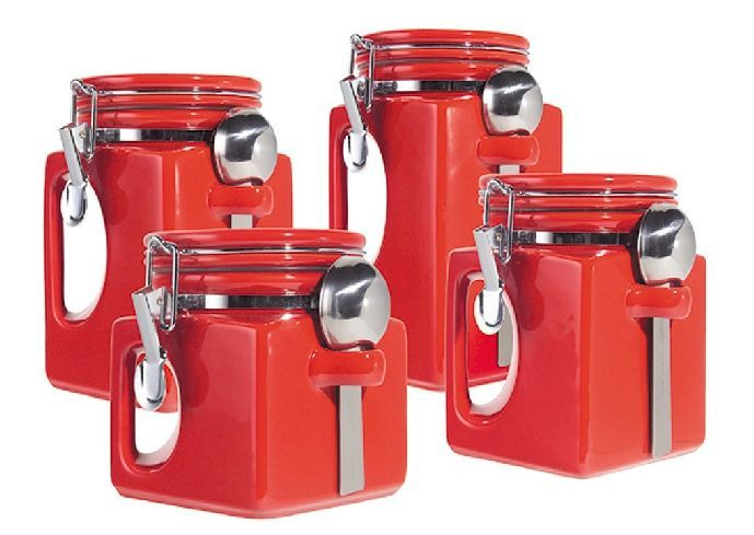 Red Kitchen Plan Appliances Set