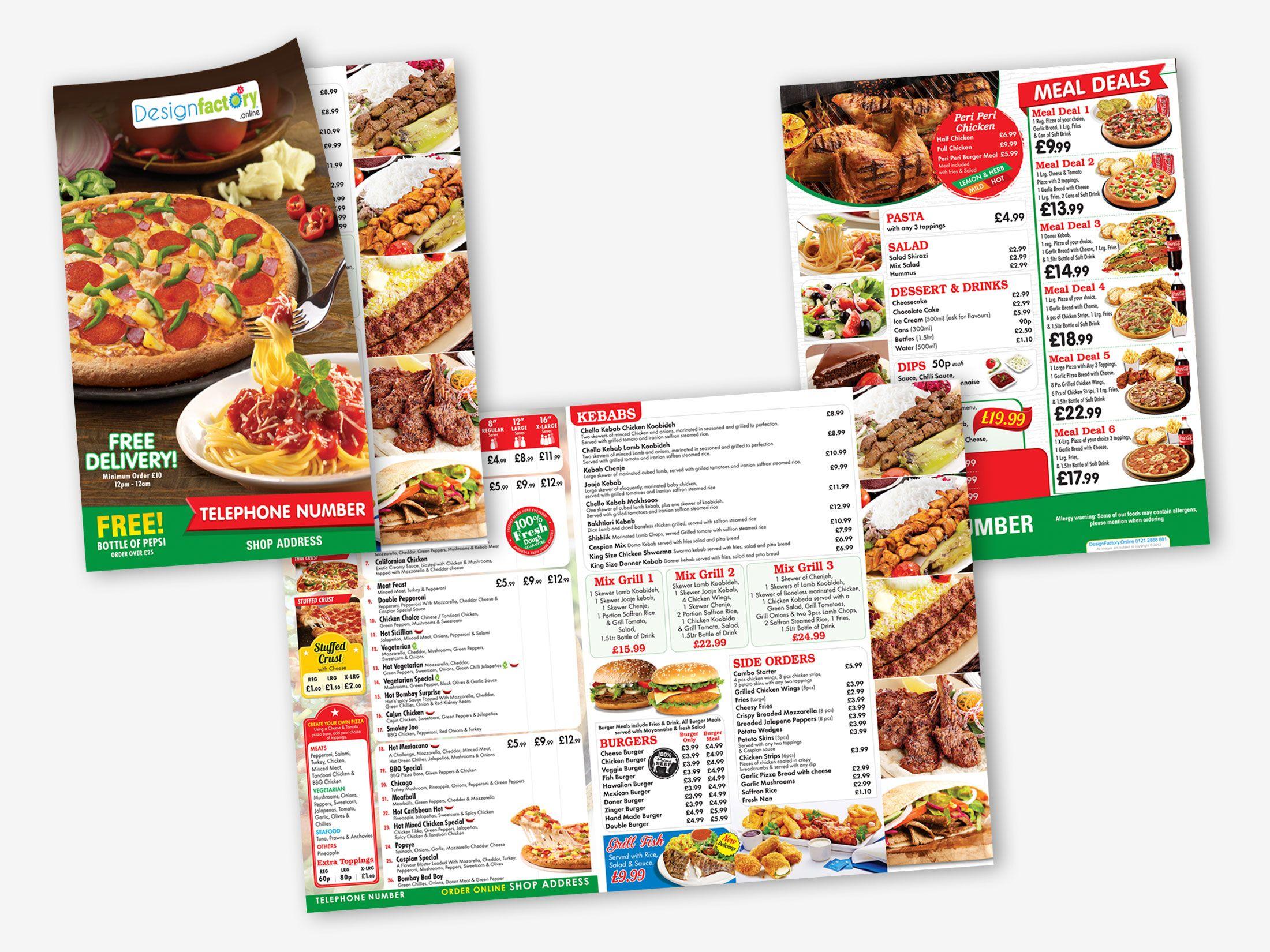 Caspian Pizza Leaflet Pizza Menu Leaflets Pizza Menu