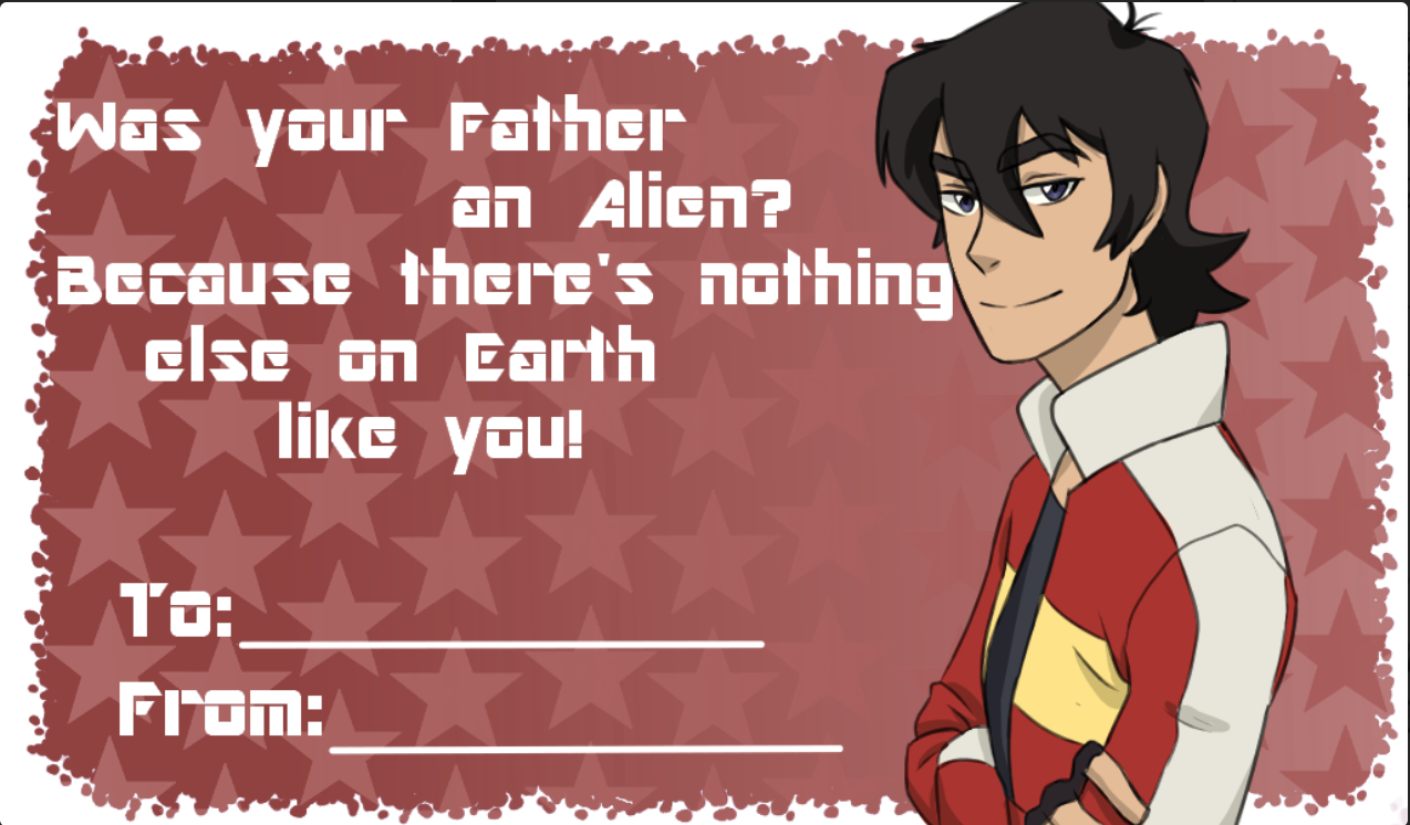 Keith S Valentine S Day Card From Voltron Legendary Defender