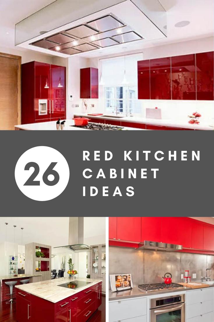 26 Red Kitchen Cabinet Ideas In 2020 Red Kitchen Cabinets Barn Red Kitchen Red Kitchen