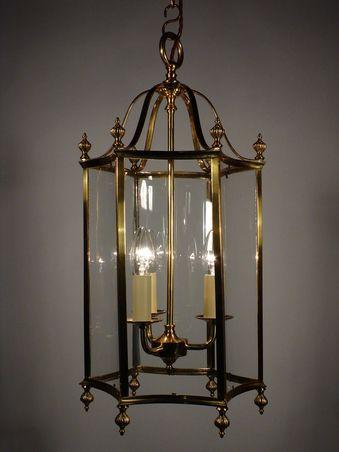 Cast Br Georgian Style Curved Gl Hall Lantern