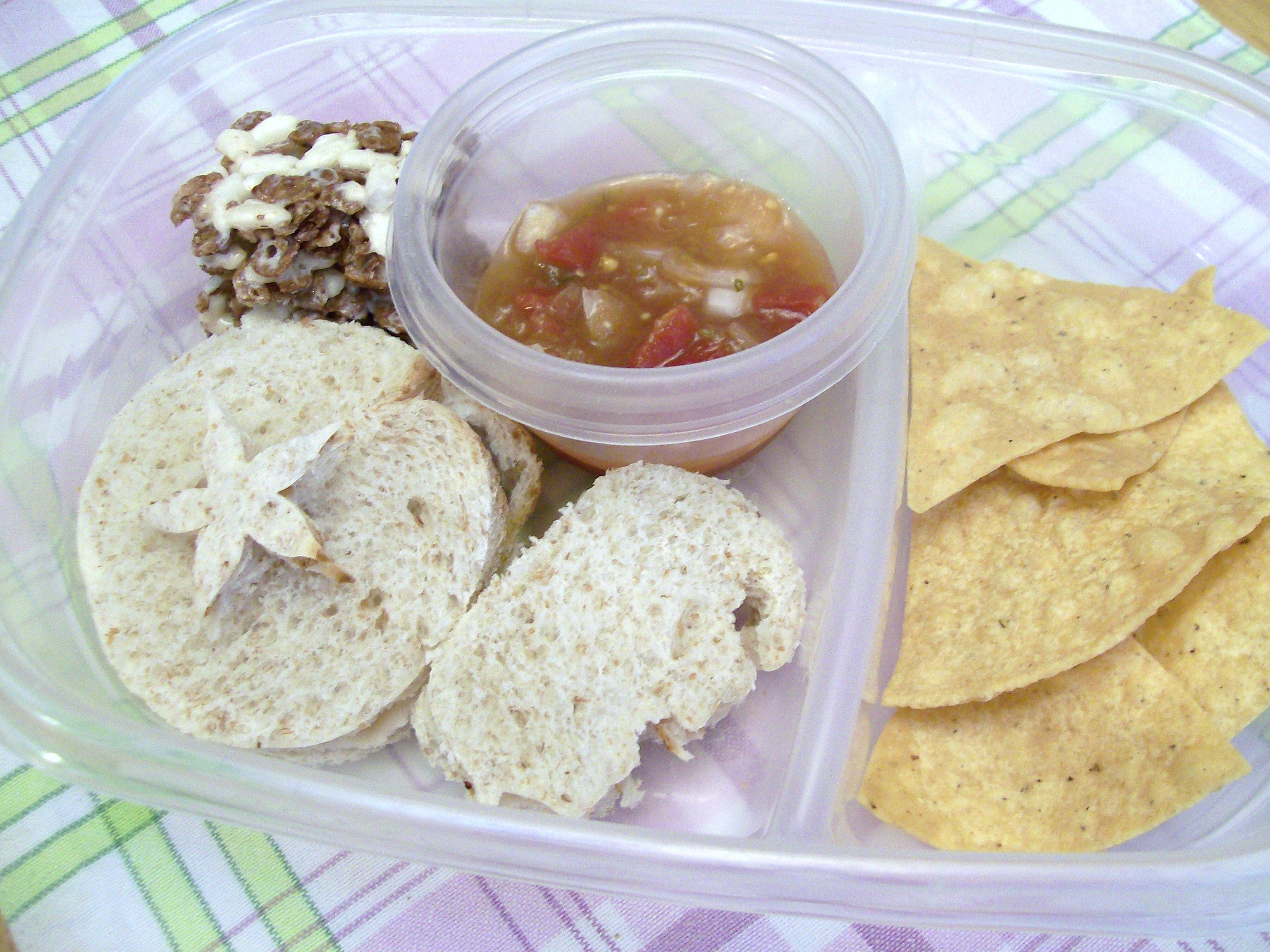 chips, salsa and shaped PB&J