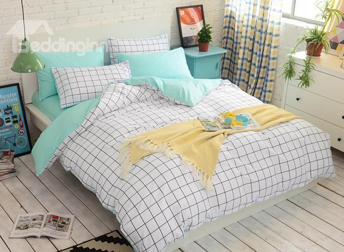 Minimalist White Grid Reversible 4 Piece Cotton Duvet Cover Sets