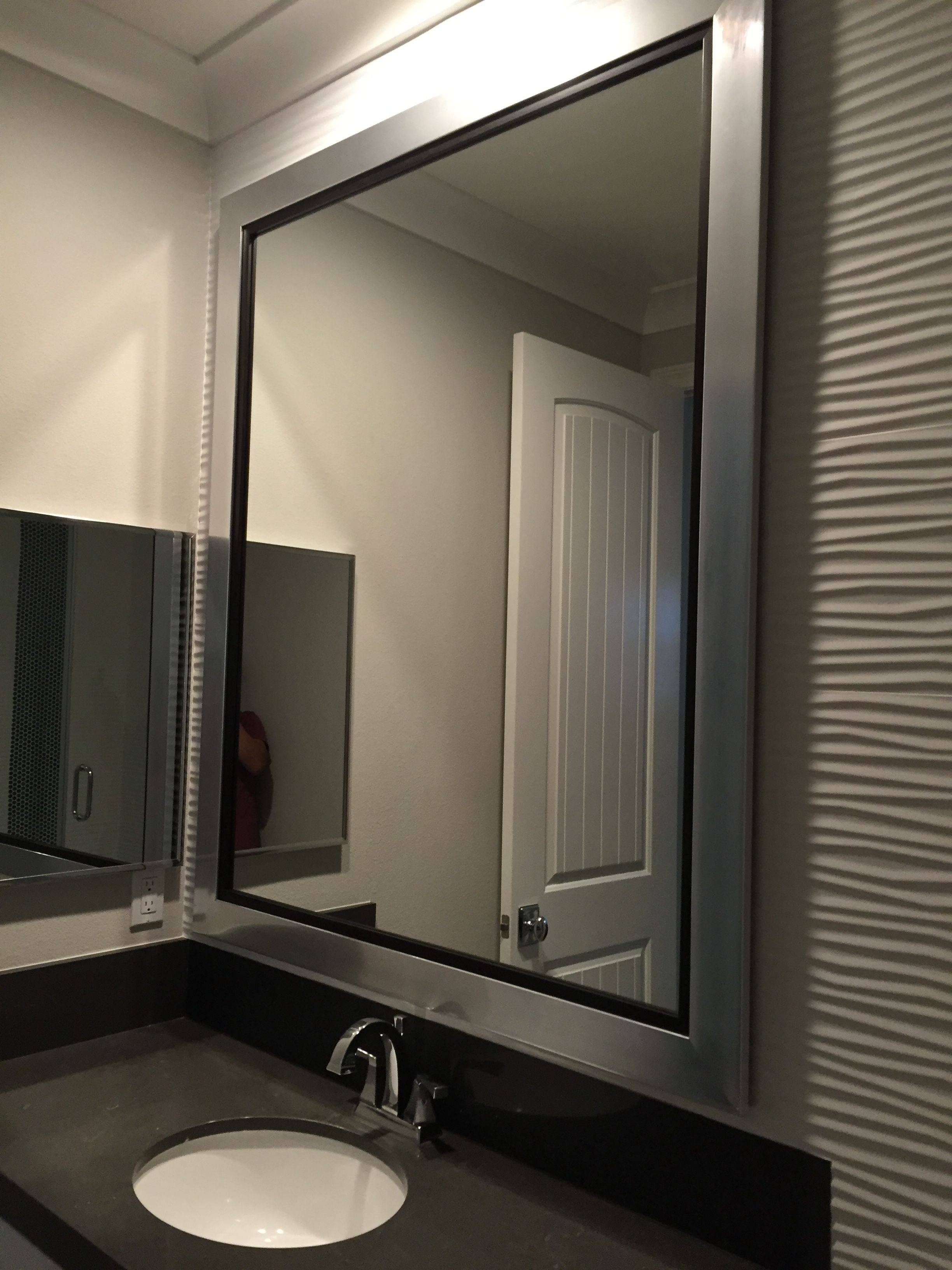 custom silver framed mirror bathroom westframes silver on custom bathroom vanity mirrors id=16048