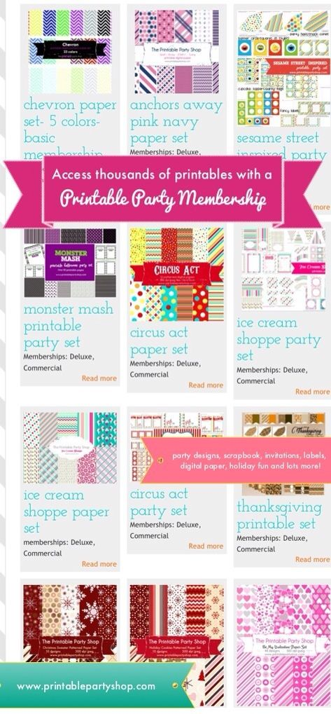 Printable Party Shop \u2013 Tons of Printables all in one place! Party