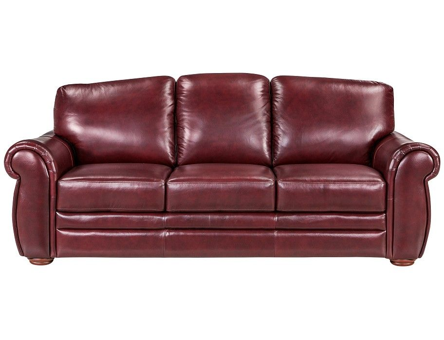 Add Interest To A Living Space With This Burgundy Leather Sofa