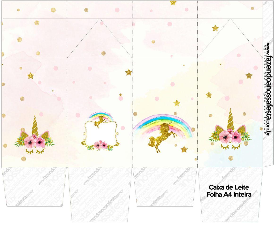 Minha Festa De UnicÓrnio: Caixa De Leite Unicórnio Kit Festa 1