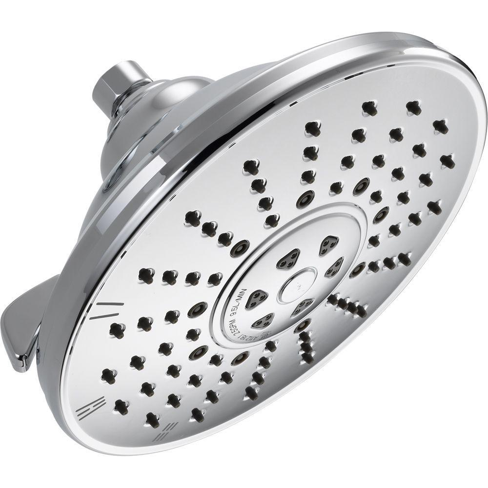 Delta 3 Spray 8 In Single Wall Mount Fixed Rain Shower Head In Chrome Grey In 2020 Shower Heads Delta Faucets Fixed Shower Head