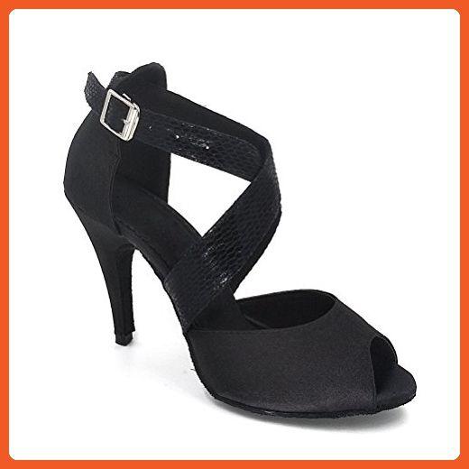 a1093a697c5 Misu Women s Peep toe Sandals Latin Salsa Tango Practice Ballroom Dance  Shoes with 3.9
