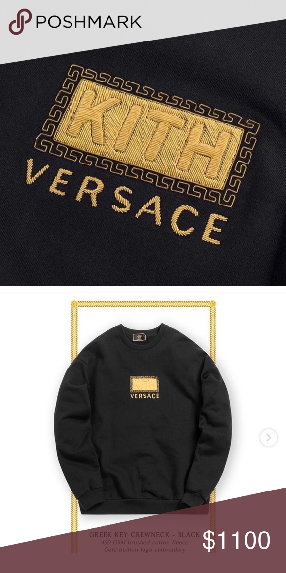 d3a8465d6f9 Kith x Versace Greek Key Crewneck Brand new unworn never opened original  tag box and receipt. In hand and ready to ship Kith Tops Sweatshirts    Hoodies