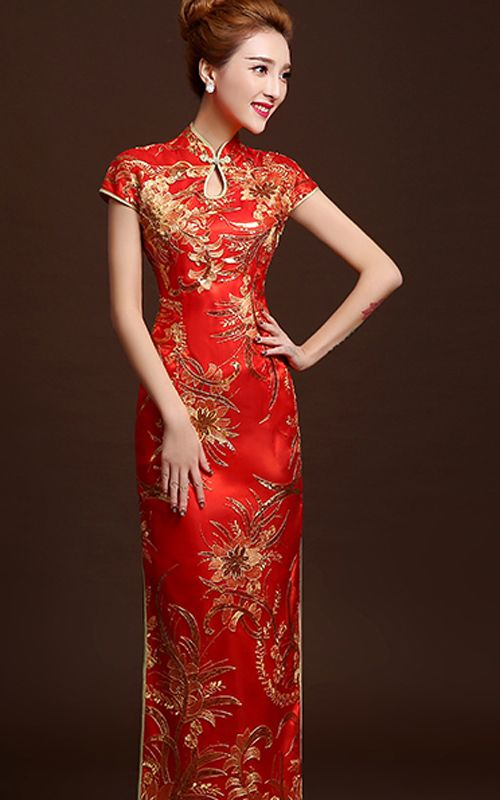 1524e077dd733 Gold sequins embroidered red lace qipao long Chinese wedding dress ...