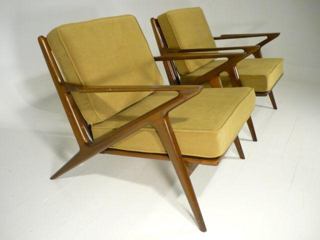 Pair Vintage 50u0027s Poul Jansen Selig Z Chairs Asking Price: $4000