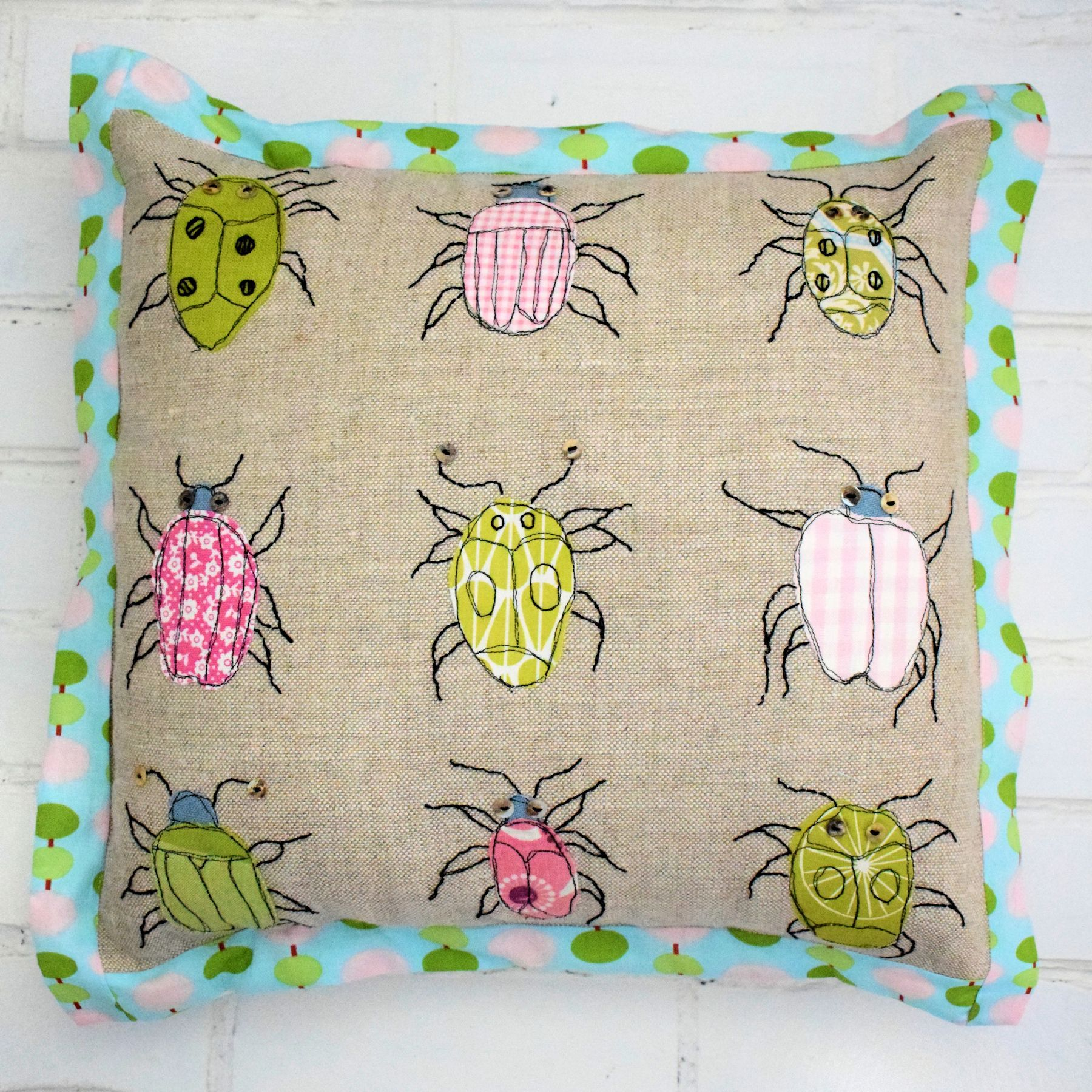 Adorable Bugs Cushion - free throw pillow sewing pattern!