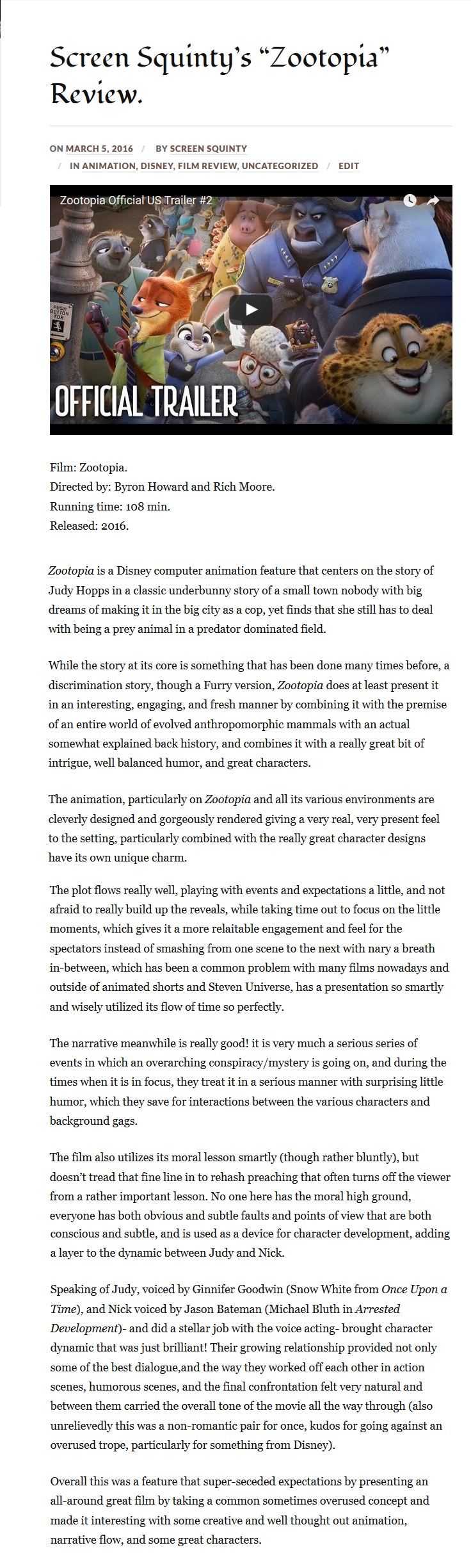 Screen Squinty's Review of Zootopia (sample) by ScreenSquinty.deviantart.com on @DeviantArt