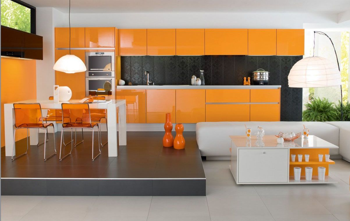 Dining room orange white dining room ideas with bright lighting