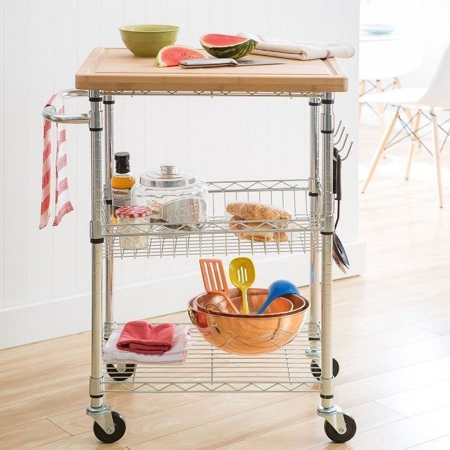 Urban Utility Cart Small Bamboo Top Tall Rolling Kitchen