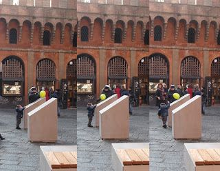 Child playing in Bologna #italy #history #placemaking #playground