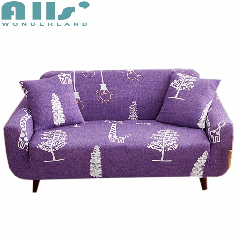 Creative Sketch On Purple Sofa Cover Cartoon Wrap All Inclusive Slip Resistant Elastic Towel For Couch Loveseat In From Home