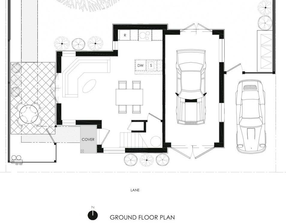 Ground floor of a Craftsmanstyle laneway house by Lanefab Design – Laneway House Floor Plans