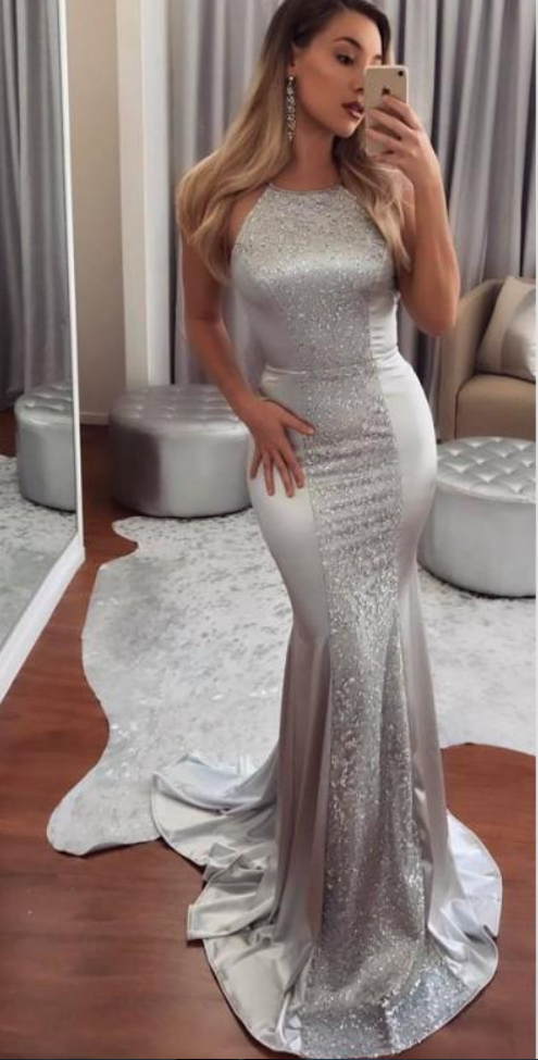 Sparkling Silver Mermaid Prom Dresses Long Sequined And Satin Low ...