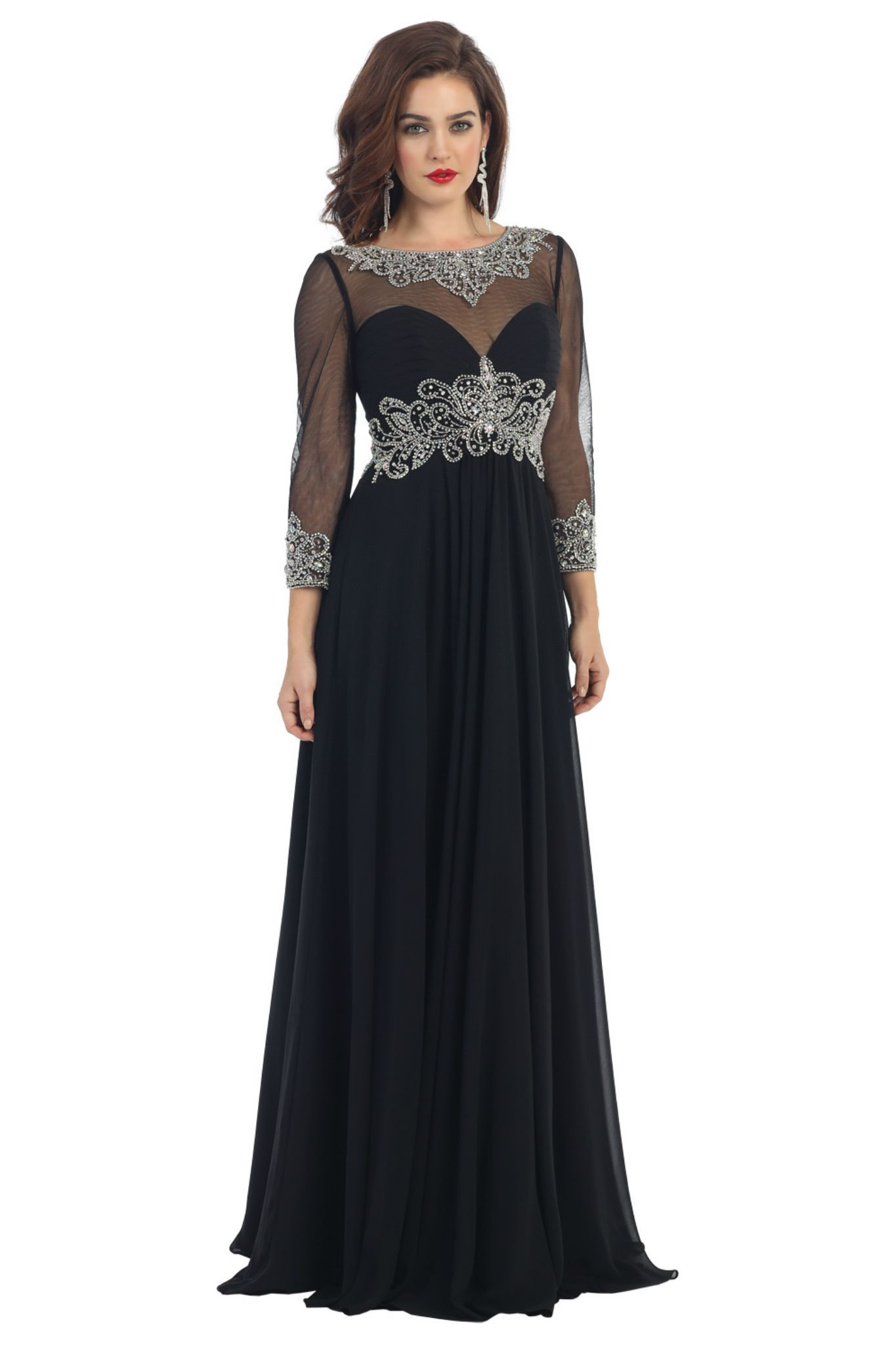Plus size wedding guest dresses with sleeves  Long Sleeve Plus Size Mother of the Bride Formal Gown  Homecoming