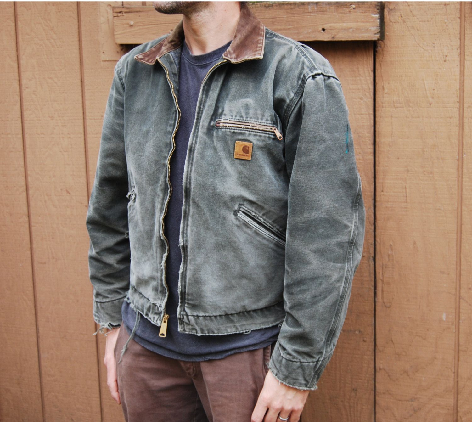 c11708d66b Vintage Carhartt Detroit Jacket - Olive Green Heavy Cotton Duck Distressed  and Worn, Men's S to M