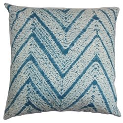 "Versatile and striking, this square pillow adds the right touch of details into your interiors. This 18"" pillow features a bold zigzag pattern in shades of blue and white. Toss this decor pillow in your living room, bedroom or lounge area. This accent pillow suits various decor styles including coastal and contemporary. Made of 100% soft and high-quality cotton fabric. $55.00   #zigzag  #pillows  #homedecor"