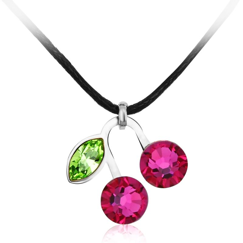 Cherry Crystal Pendant + Rope Chain --->>Necklace & Pendant
