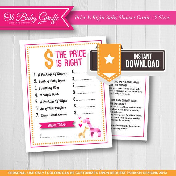 Giraffe Baby Shower, The Price Is Right Baby Shower Game, Safari Baby Shower,  Pink And Orange, Girl Baby Shower, INSTANT DOWNLOAD, #G1. Ice Breaker ...