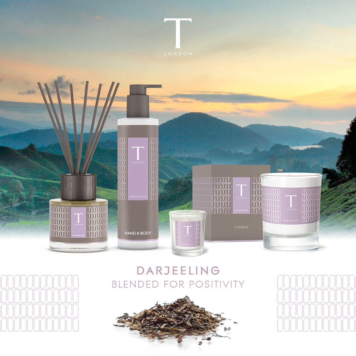 T London draws it's inspiration from the magical tea leaf and its restorative benefits. We worked with them to develop the brand and packaging for their home fragrance and body collections – all distinctively blended to help enhance moods. T London crea…