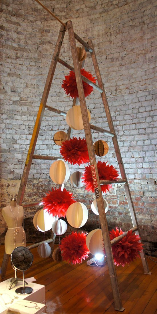 ladder tree - In addition to the lanterns I want to hang ornaments then wrap the frame of the ladder with lights. #leiterdekoweihnachten