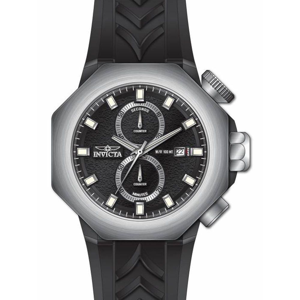 Invicta 16913 Men's I-Force Chronograph Silver Bezel Black Dial Silicone Strap Watch
