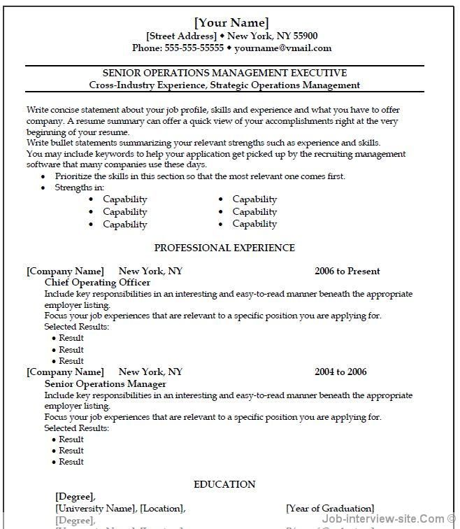 Operation Manager Template  Resumes    Professional