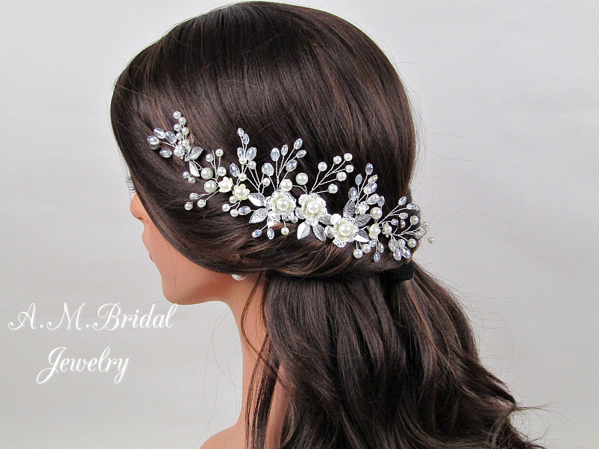 Floral Pearl & Crystal Bridal Headpiece Pearl Bridal Hair Vine Crystal Wedding Hair Vine Silver Bridal Hair Piece Wedding Hair Accessories #bridalheadpieces