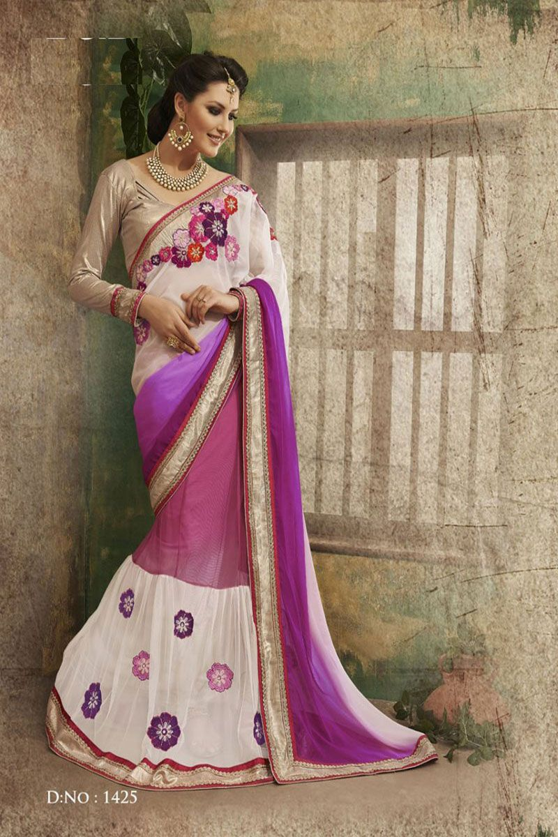 Get Indian magenta and white new collection #lehengasaree with 26% discount at #craftshopsindia #indianlehengasaree #weddinglehengasaree #partywearlehengasaree