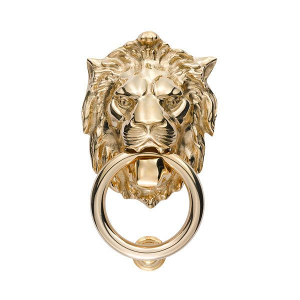 Lion Door Knocker ($139) ❤ liked on Polyvore featuring home, home decor, decorative hardware, fillers, lion head door knocker and lion door knocker
