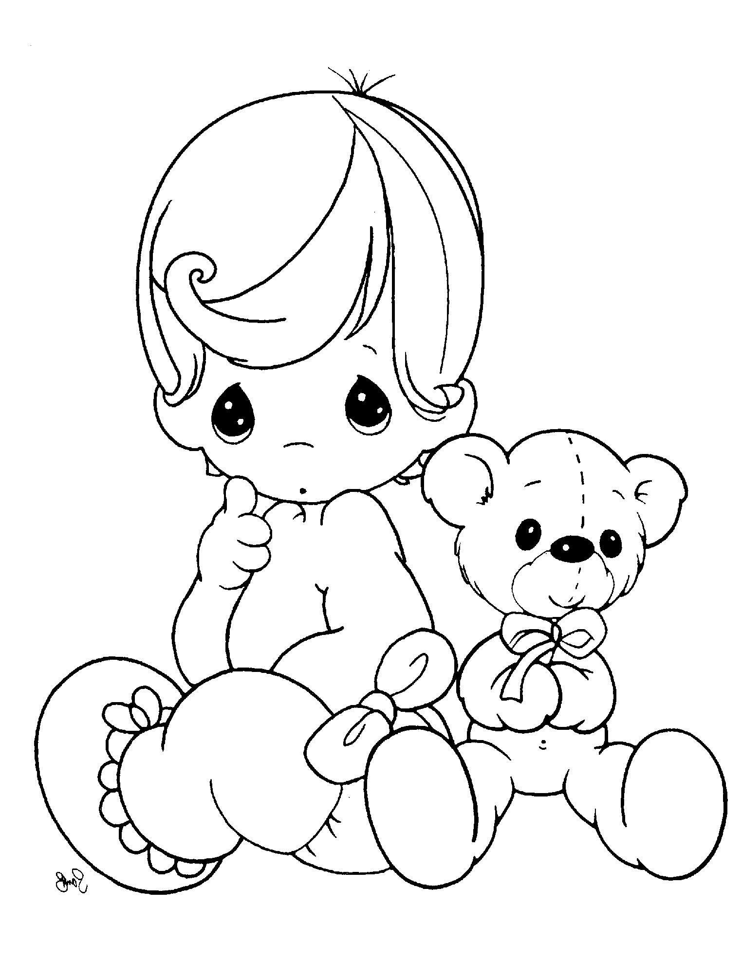 precious moments sitting with a cute doll coloring pages ... - Baby Girl Coloring Pages Kids
