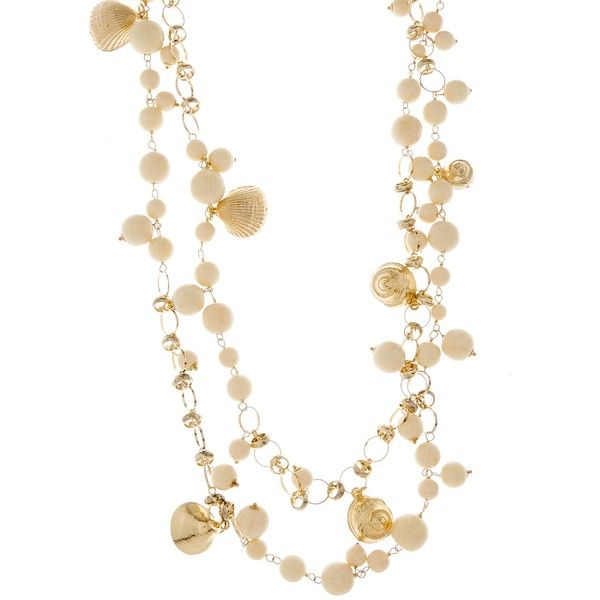Rosantica By Michela Panero Spiaggia seashell-charm long necklace ($258) ❤ liked on Polyvore featuring jewelry, necklaces, gold tone necklace, ivory necklace, shell bead necklace, long beaded necklace and sea shell necklace