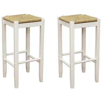 Rattan 23 75 Quot Counter Stools White Natural Seagrass