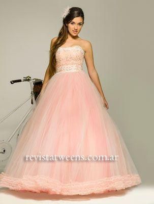 Vestido de 15 años rosa largo