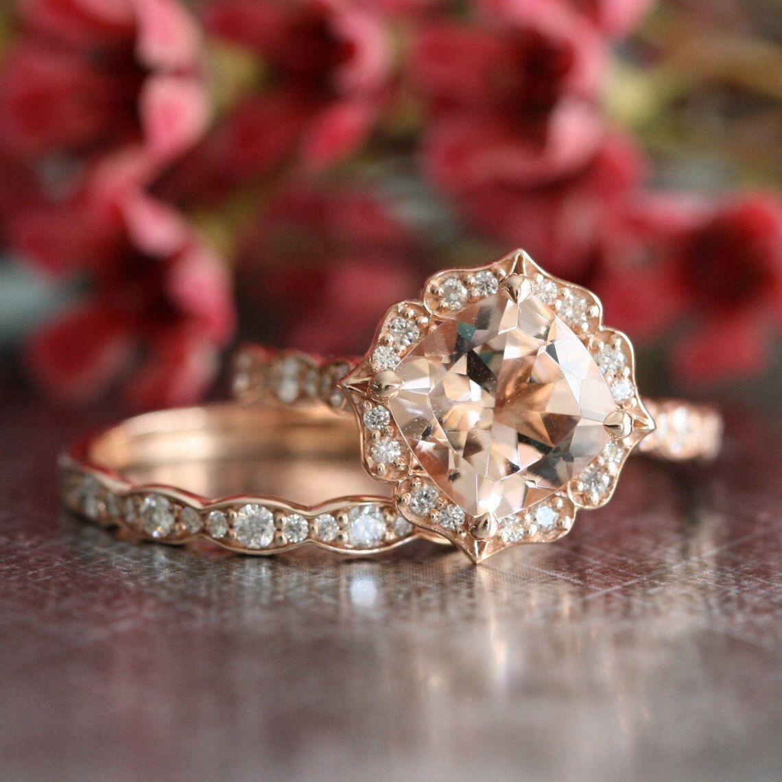 Bridal Set Vintage Floral Morganite Engagement Ring and Scalloped ...
